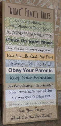 Custom Family Rules canvas sign, home decoration, picture, wall hanging (green, blue, beige)