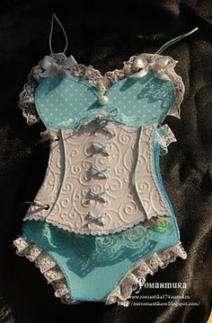 lace corset style handmade card - very pretty