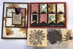 Daisy Flower Stamps set carved by Ursula James