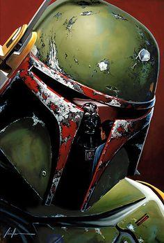 Star Wars Fett Christian Waggoner LE 25 30x24 Giclee Canvas Signed Boba NEW