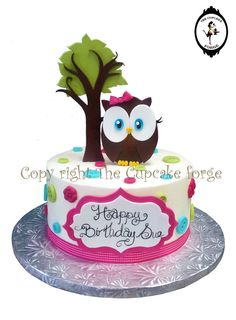 Hand made fondant Cute Owl complete cake kit with birthday plaque, stand up tree and owl with dots and ribbon on Etsy, $33.00