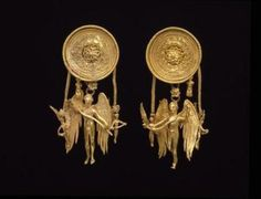 Eros earrings. Greek, late 4th century BC.