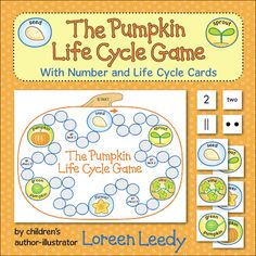 Pumpkin Life Cycle Game: kiddos will review the stages in the life cycle of pumpkins as they play. Instead of dice, they use Number Cards to read numbers in the form of numerals, number names, tally marks or dots.