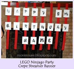 This is a major resource with ideas for food, decor, and a ninja training :) Erin Expounds: LEGO Ninjago Birthday Party - Resource Guide