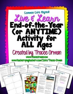 FREE download - Live & Learn Life Lessons Class Activity Anytime or End-of-the-Year (Common Core Aligned!)
