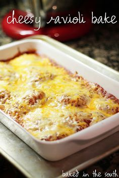 Easy Cheesy Ravioli Bake 2 9 oz. packages of Refrigerator Ravioli 1 Jar Prego Spagetti Sauce 2 cups shredded cheese Layer some sauce in the bottom of a 9×13 baking pan. Spread 1 package of ravioli on bottom, cover with a layer of sauce and cheese. Layer next package of ravioli, top with remaining sauce and shredded cheese. Bake at 350 degrees for 30 minutes.