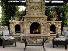 great outdoor fireplace dream-home-inspirations