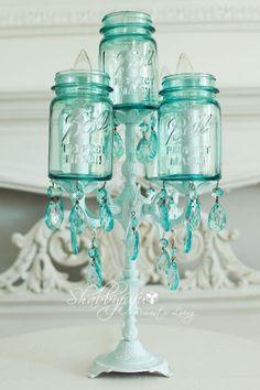 lamps, blue mason jars, masons, shabbi chic, candelabra, candles, diy, crafti idea, blues