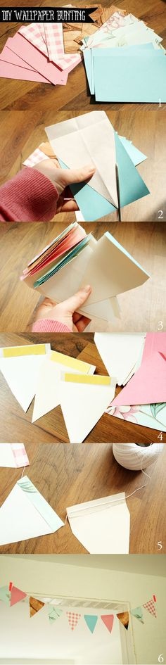 DIY - Wallpaper sample bunting @ By Wilma