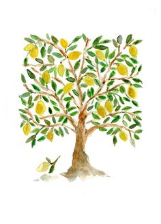Art Print  The Lemon Tree Folk Art inspired,  print of watercolor painting  in green brown and yellow,  limited edition, Mediterranean. $21.00, via Etsy.