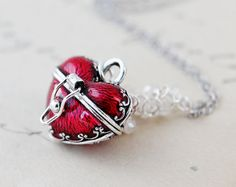 Heart Shaped Box Necklace Locket Sterling Silver