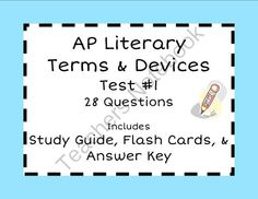 Literary Terms & Devices Test / Quiz 1 (Honors & AP) from BlueSkyPatriot on TeachersNotebook.com -  (11 pages)  - Includes a 28-question test, the answer key, a study guide with definitions and examples covering all material on the test, and easy to print flash cards to make studying easy.