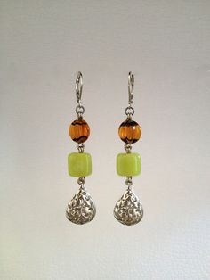 Drop Earring with Green & Brown Stones by Hibiscus03 on Etsy, $35.00