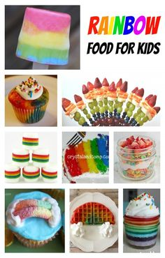 Fun Rainbow Food for Kids! Perfect for a rainbow party or St. Patrick's Day!