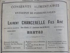 Nantes. Publicité Laurent Chancerelle fils aîné, conserves alimentaires et entrepôt de poissons salés. 1882.