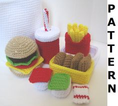 Crochet Food Pattern for Happy Meal - finished items made from pattern may be sold. $5.00, via Etsy.