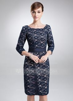 Mother of the Bride Dresses - $154.99 - Sheath/Column Square Neckline Knee-Length Charmeuse Lace Mother of the Bride Dress (008006193) http://jjshouse.com/Sheath-Column-Square-Neckline-Knee-Length-Charmeuse-Lace-Mother-Of-The-Bride-Dress-008006193-g6193
