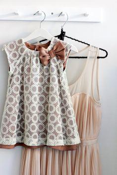 peasant dress, lace overlay, satin underlayer?