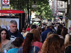 Crowds on Oxford Street. Europe's busiest shopping street, with over 300 shops.