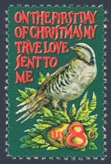 "1971_11_10 The contemporary Christmas stamp was designed by Jamie Wyeth and has a ""Partridge in a Pear Tree"" theme."