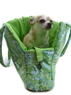 Paisley Green & Blue Pet Travel Purse by CuddlePupPetbeds on Etsy, $45.00