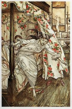 Arthur Rackham's Venus and the Cat from Aesop's Fables
