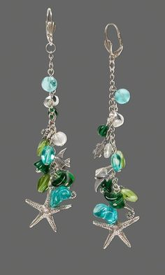 Earrings with Czech Pressed Glass Beads and Sterling Silver Beads