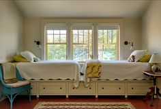 lake houses, small bedrooms, bed designs, twin beds, guest rooms, window seats, twins, storage ideas, kid room