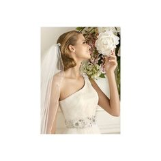 Romantic A-line one-shoulder white tulle 2013 spring wedding dresses... ($258) via Polyvore