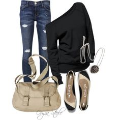 Wouldn't have thought to put the bag and shoes with the black, but love it, ripped jeans or not!