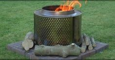 Old washing machine drum converted to fire pit!