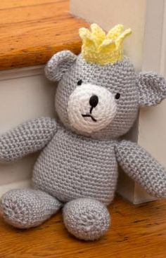 Free crochet Bear pattern by Red Heart (no need to sign up, download right from the pattern page) crown, crochet bear pattern, birthday bear, crochet free patterns, crochet pattern free bear, free crochet bear, crochet patterns