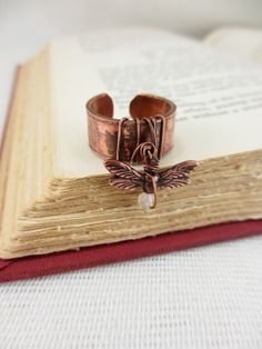 Dragonfly copper pipe charm ring