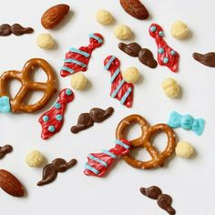 Snack mix for Dad! Mustaches and ties + Kix Cereal from @thedecoratedcookie