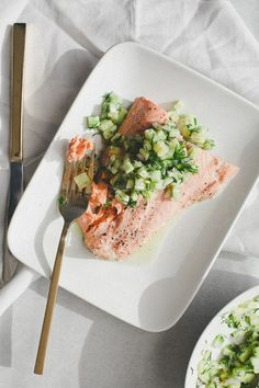 Poached Salmon with Cucumber Salsa by notwithoutsalt #Salmon #Cucumber #Healthy