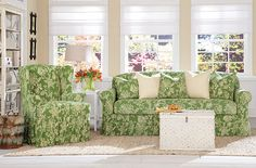 Sure Fit Slipcovers: New Stretch Verona Slipcover Collection - The two-piece, ruffled skirt design of this slipcover keeps the cottage look refined. Form fitting in all the furniture curves and relaxed skirt to add charm.