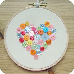 hoop art. heart. cute buttons