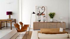 decor, interior design, living rooms, art, credenza, hous, live room, leather chairs, design blog