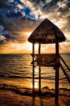 Sunrise at Cancun Beach, Mexico