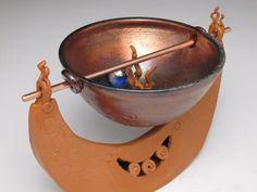 'Fledgling Boat: Inspiration Fledged Topside' ~ Raku by Diane Smeraldo 1of3
