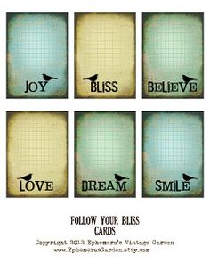 Ephemera's Vintage Garden: Weekly Freebie: Follow Your Bliss Tags/Cards
