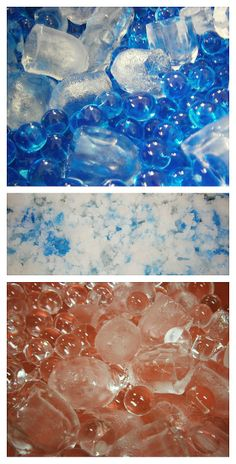 ice cubes, water beads