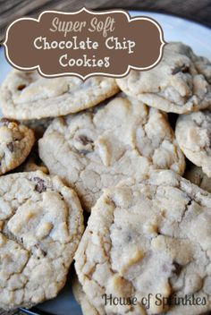 Super soft chocolate chip cookie recipe. So yummy! www.houseofsprinkles.com #cookies #chocolate #chocolatechipcookies