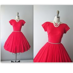 50's Cocktail Dress //  Vintage 1960's Red Chiffon Rhonestone Cocktail Party Prom Dress XS