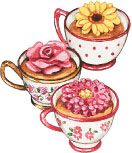 Teacups & Flowers. Artwork by Gooseberry Patch.