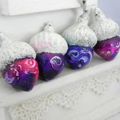 Shabby Chic Pink and Purple Acorns Decorations  by LavaGifts, $12.00