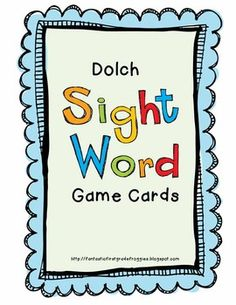 Dolch Sight Word Game Cards