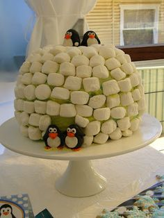 winter parties, marshmallow igloo, penguin birthday, birthday themes, igloo cake, penguin parti, penguin party, parti idea