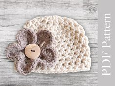 INSTANT DOWNLOAD - PDF Pattern Crocheted Baby Girl Hat with a Flower on Etsy, $3.50