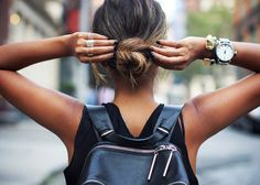 Sincerely Jules. Bun + backpack #rockmystyle